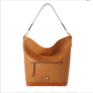 Dooney Camden Woven Leather Hobo Camel